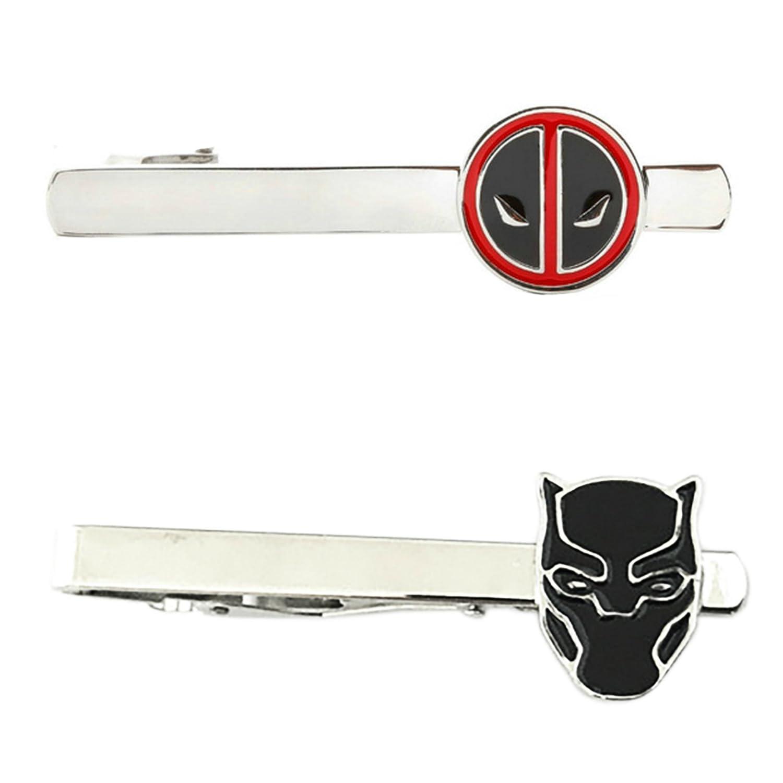 Marvel Comics - Deadpool & Black Panther - Tiebar Tie Clasp Set of 2 Gift Set Wedding Superhero Logo Novelty Jewelry Series w/Gift Box