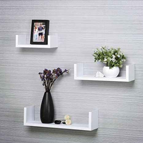 Mensole In Laminato.Mensole U Laminato Nero Set Da 3 Pezzi White Amazon It