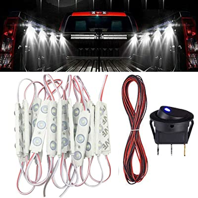 ROYFACC 60 LED Truck Pickup Bed Lights LED Rock Light Kit for Off Road Under Car Van Truck Auto Car Vehicle Caravan Foot Wells Rail Lights DC 12V 20Pcs White: Automotive