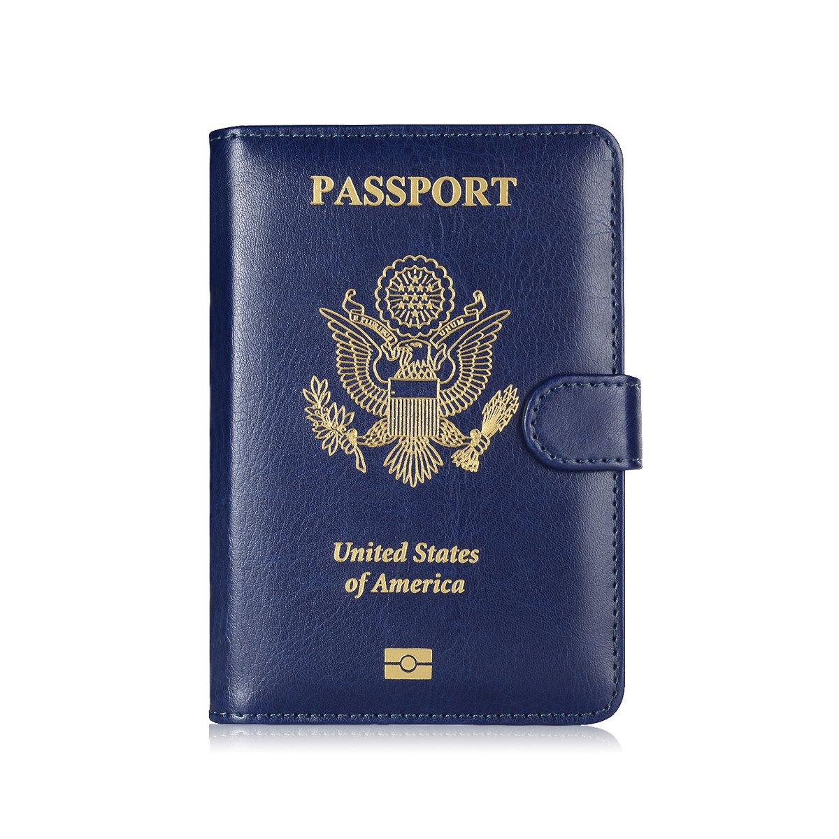 Maxjoy Leather Passport Holder, Passport Book Cover, Passport Wallet for Men/Womem, RFID Blocking Travel Passport Wallet Card Organizer passport case, Blue by Maxjoy