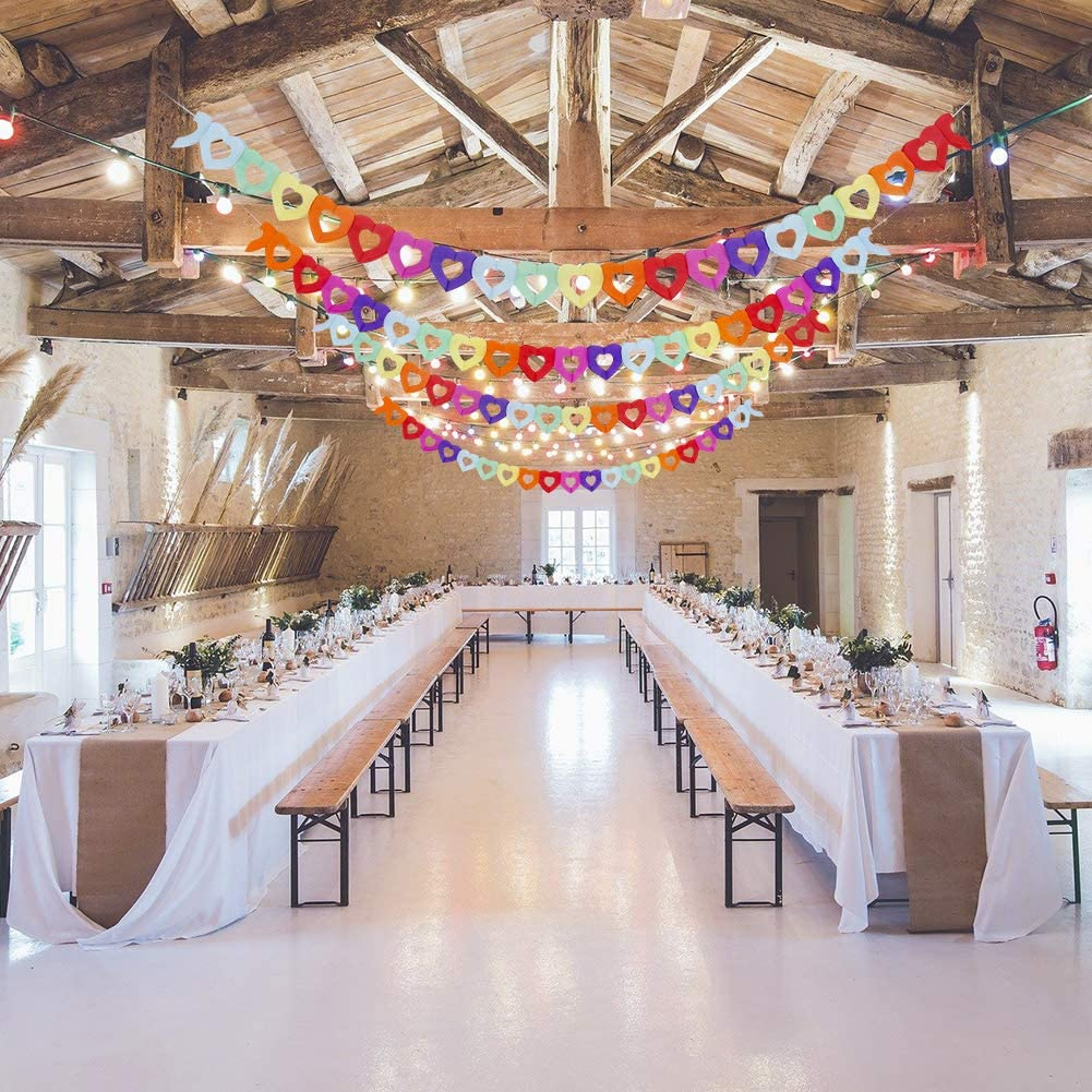 Weirui 6 Pieces Party Banner Paper Garland Colorful Heart Shape Banner Hanging Decoration Party Supplies Apply to Wedding Birthday Party
