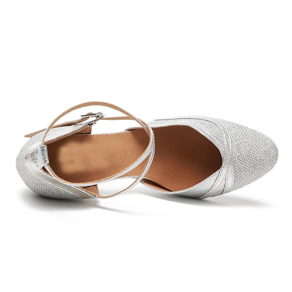 Minishion Womens Glitter Ballroom Latin Dancing Shoes Party Wedding Heels