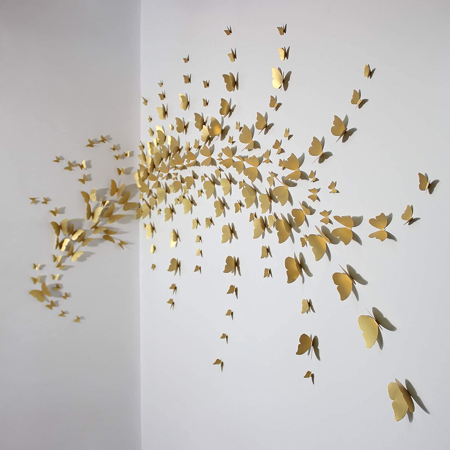 Made of Italian Paper - 3D Butterfly Wall Decor Stickers for Living Room, Office, Bedroom - Removable Art Decoration Sticker Set of 4 Sizes Butterflies - 192 Hanging Butterfly Decorations (Gold)