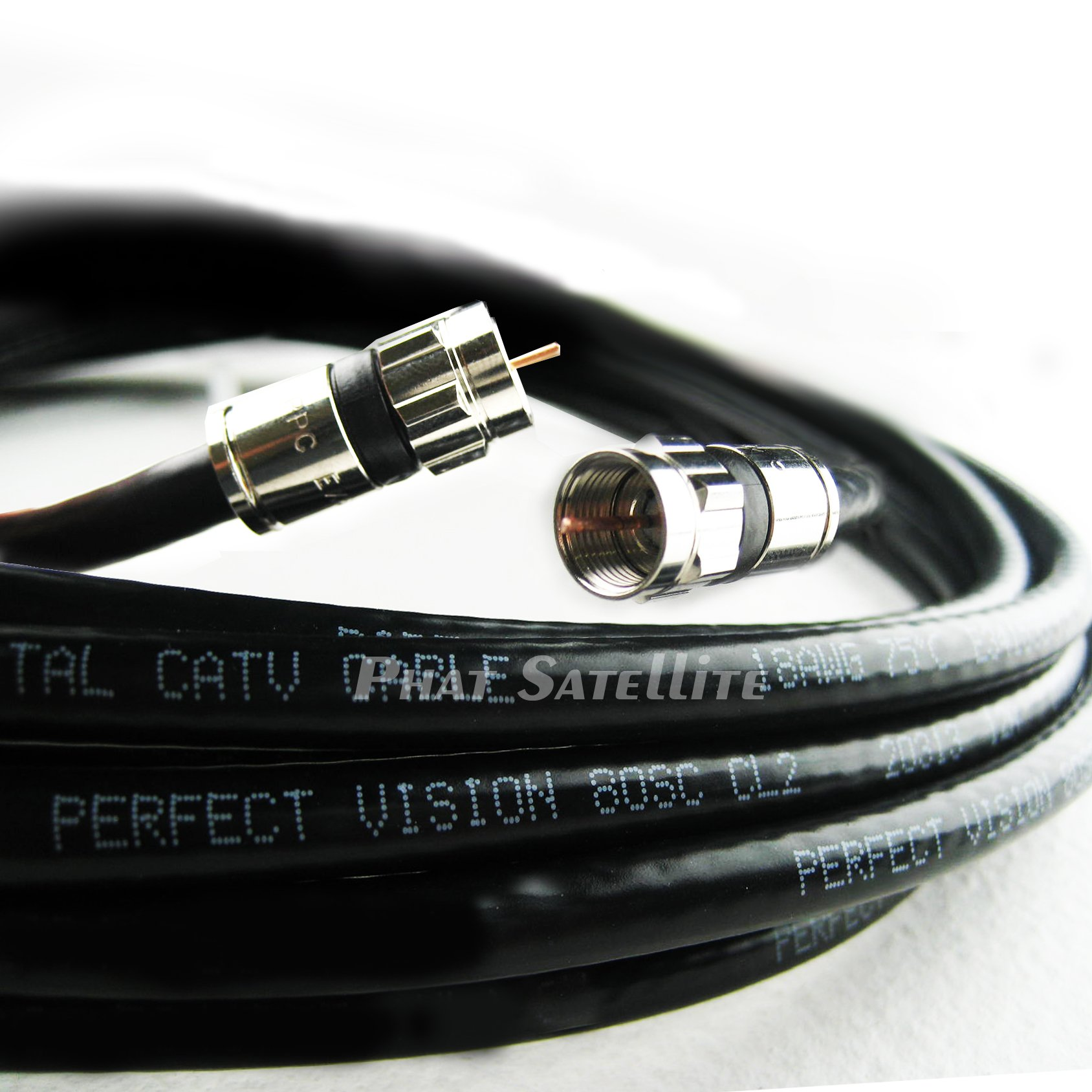 100ft Black Perfect Vision Solid Copper UL CM CL2 rated for in wall installation 3ghz 75 Ohm Coaxial Rg6 Directv, Dish Network, Digital Cable Tv Video Cable with PPC Compression Rg6 Fittings by Perfect Vision