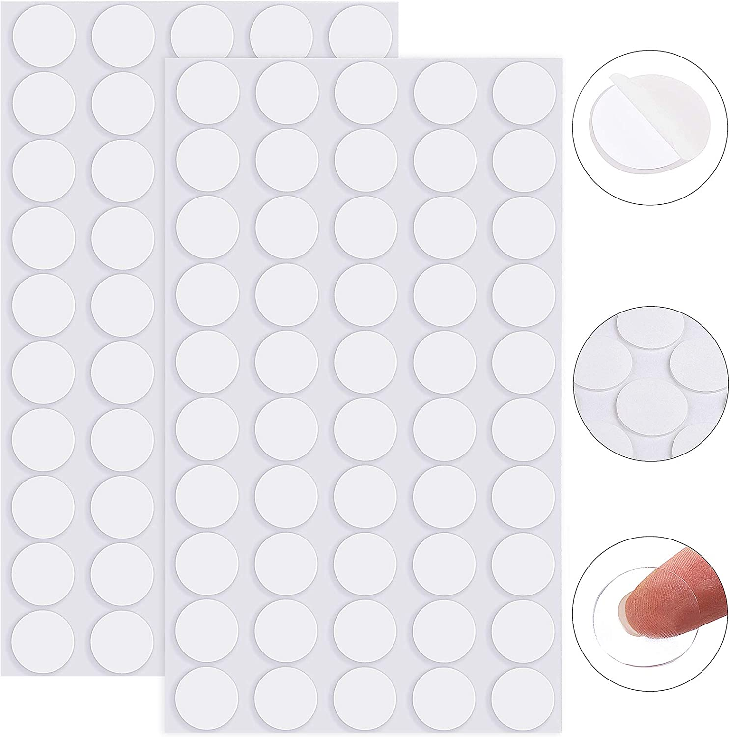 ADXCO 100 Pieces Removable Sticky Adhesive Putty Clear Sticky Putty Double-Sided Putty Round Nano Gel Transparent Putty for Christmas Wall, Metal, Glass, Diameter 25 mm