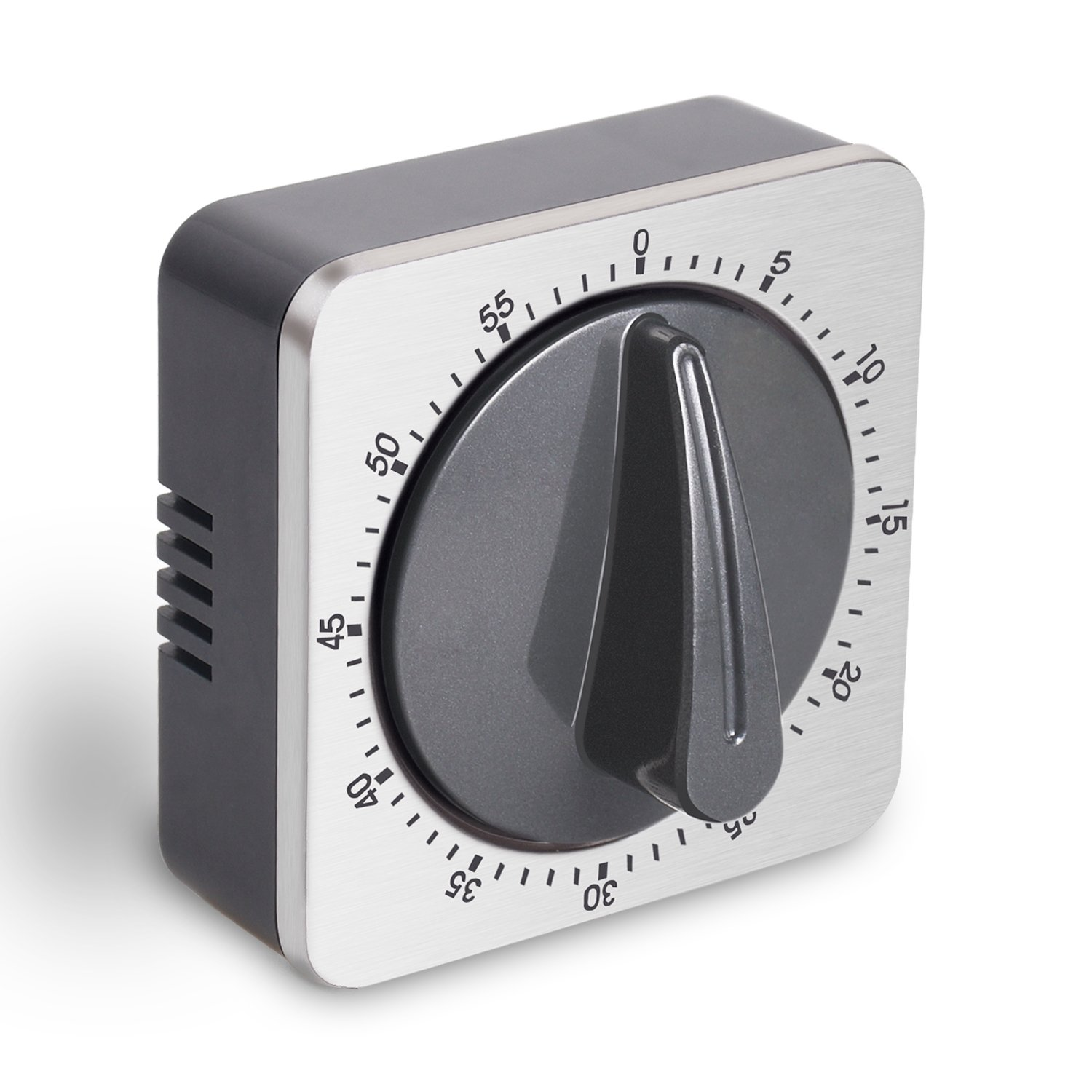 Kitchen Timer Manual Magnetic Stainless Steel Mechanical 60 Minutes Timing with Alarm Sound Cooking Countdown Dial Timer (Square)
