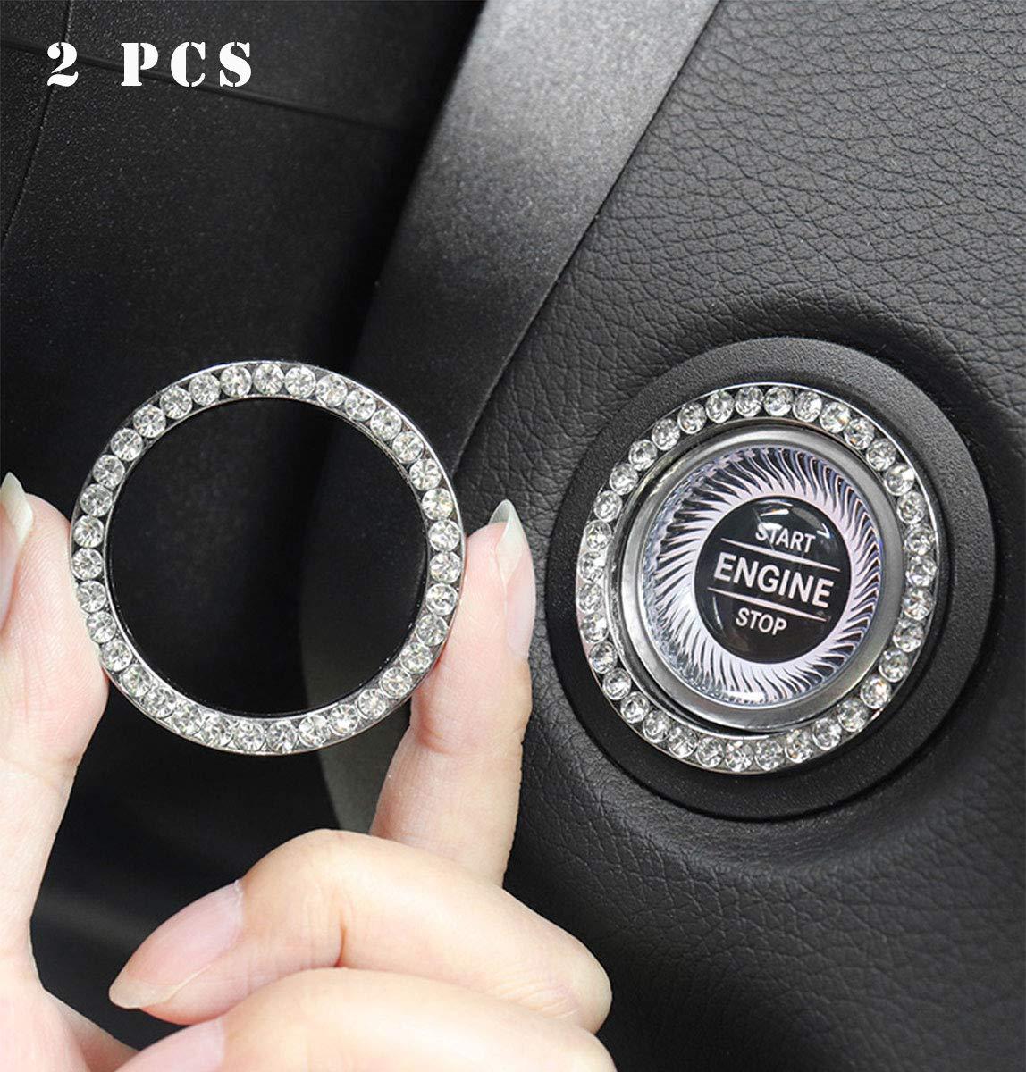 2Pcs Bling Car Engine Start Button Decorative Ring,Bling Start Button Bling Ring,Bling Car Decor Crystal Rhinestone Bling Car Accessories