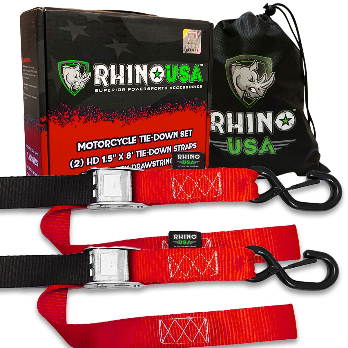 RHINO USA Motorcycle Tie Down Straps (2 Pack) Lab Tested 3,328lb Break Strength, Steel Cambuckle Tiedown Set with Integrated Soft Loops - Better Than a Ratchet Strap by Rhino USA