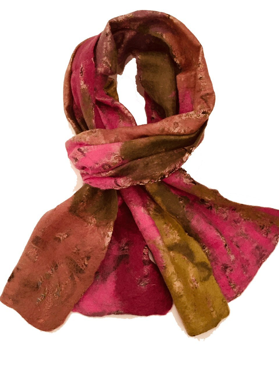 Teramasu One of a Kind Handmade Silk Merino Wool Multicolored Artist Scarf Style 9 by Teramasu