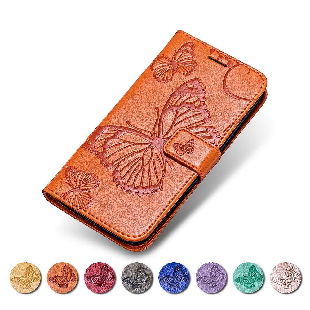 Coque Nokia N635, KKEIKO Etui en Cuir pour Nokia N635, Housse Portefeuille en Cuir avec Motif Papillon Flip Case pour Nokia N635 - Orange