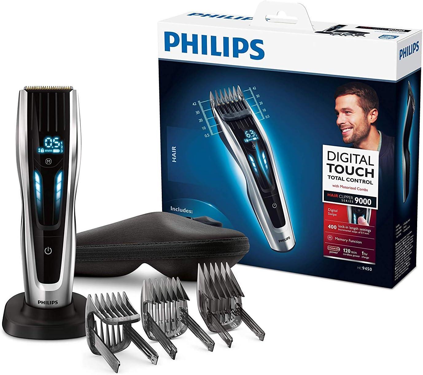 Philips HC9450/20 - Cortapelos con cuchillas de titanio, 3 peines-guía motorizados, con interfaz de cambio digital, soporte de carga y funda, negro, ac / batería