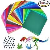 Carta per origami Jingxu,200fogli di carta colorati per artigianato fai-da-te, 15,2x 15,2cm, per progetti artistici e creativi + 100 occhi che si muovono 15 x 15cm colorful