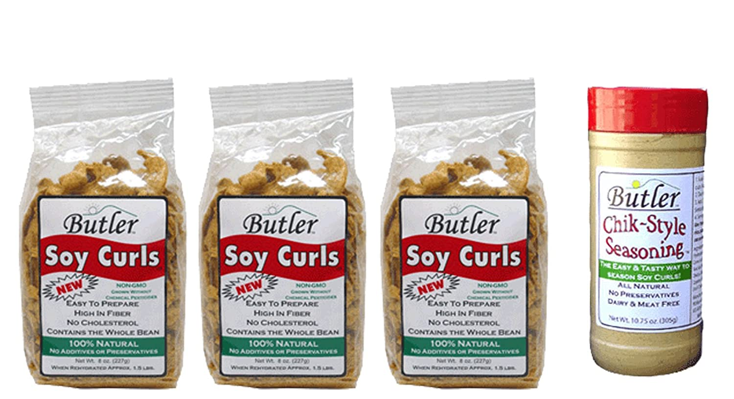 B00HAS4V14 Butler Soy Curls, 8 oz bags - 3 Pack + Chik-Style Seasoning 71wEaDNbDQL