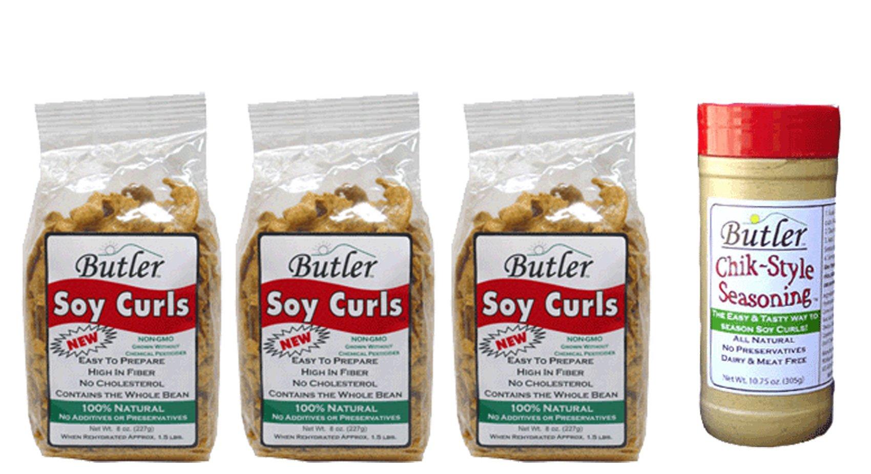 Butler Soy Curls, 8 oz bags - 3 Pack + Chik-Style Seasoning