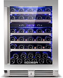 BODEGA 24 Inch Wine Cooler,56 Bottles Dual Zone Built-In or Freestanding Wine Refrigerator With Temperature Memory Control,Large LCD Screen Touch Panel,Ultra-thin Glass Door,Metal Rack Frame