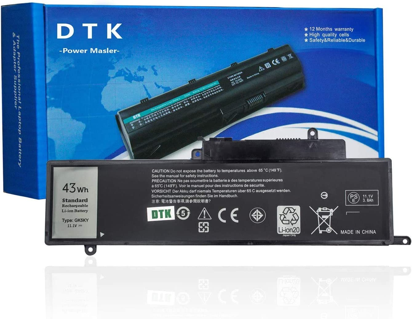 DTK GK5KY Laptop Battery Replacement for Dell Inspiron 11 3147 3000 3148 3152 Series Inspiron 13 7000 7353 7352 7347 7348 7359 7558 7568 Series Notebook 04K8YH 92NCT 092NCT 4K8YH P20T 11.1V 43Wh