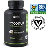 100% Plant Based Virgin Coconut Oil (120 Veggie-Softgels); The Only non-GMO project verified, Vegan safe, Extra Virgin Coconut Oil Supplement Available - 1000mg