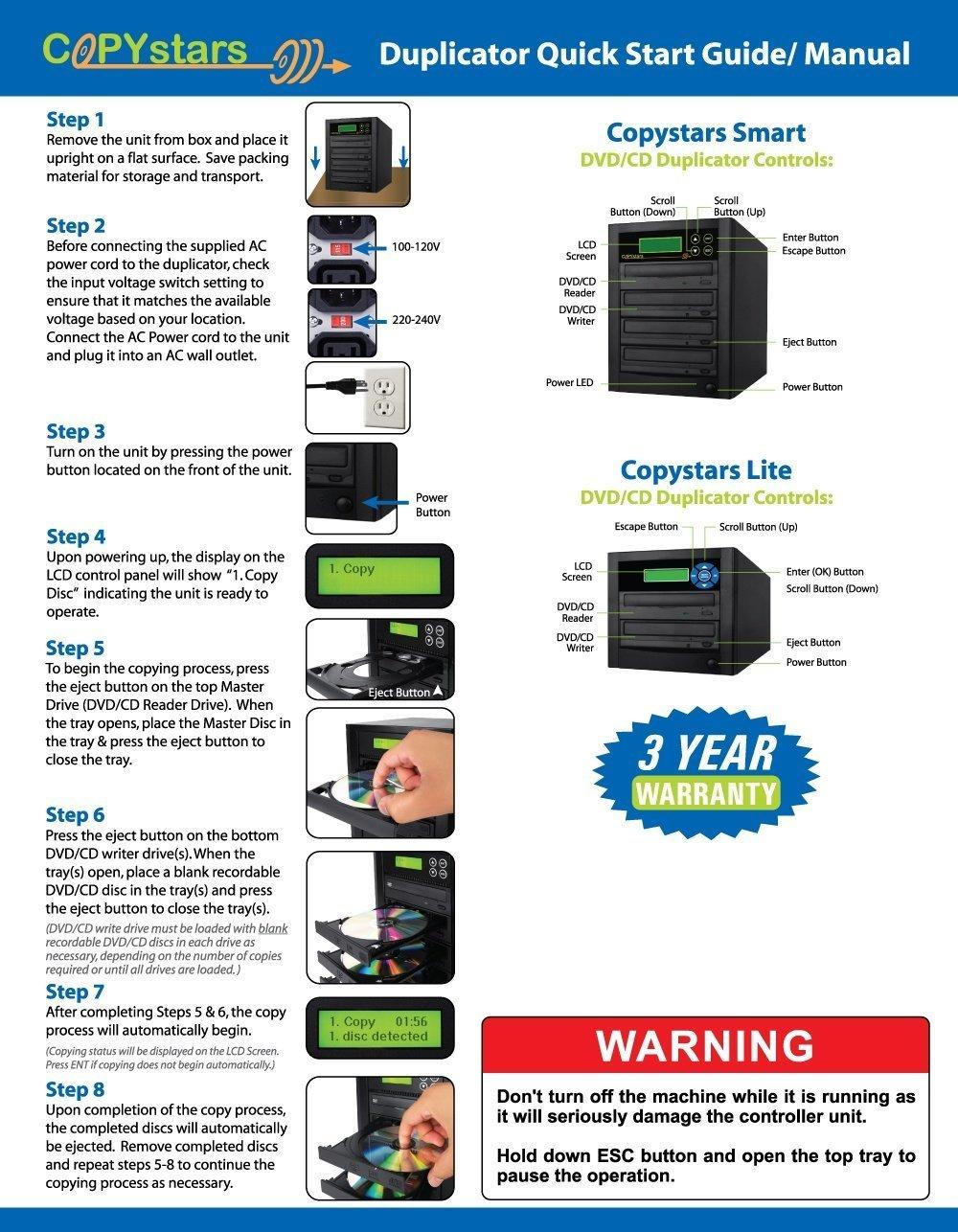 Copystars Blu Ray Duplicator 16X BD-R BDXL CD Dvd Burner Duplicator 1 to 1 Target Tower by Copystars