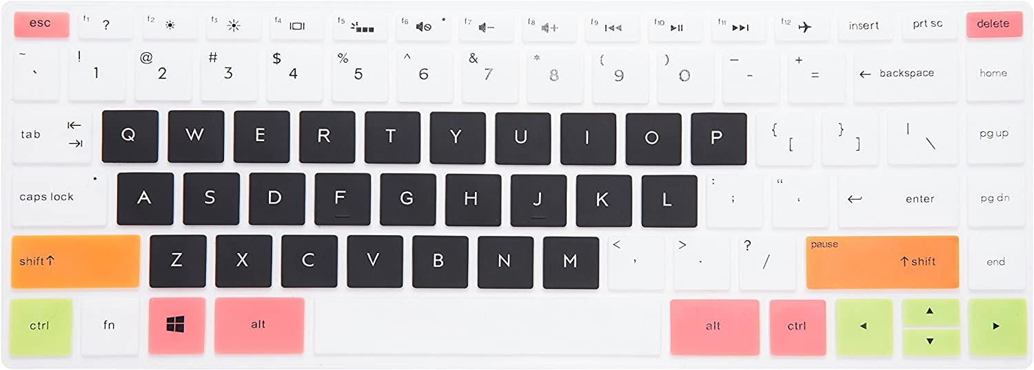 LEZE - Keyboard Cover Compatible with HP Pavilion x360 2-in-1 14M-BF 14-BF050WM,14M-DW0013DX,14M-DW0023DX,14M-BW 14-BW065BR 14-DS0050NR 14-DS0060NR 14-DK1003DX Laptop - White Black