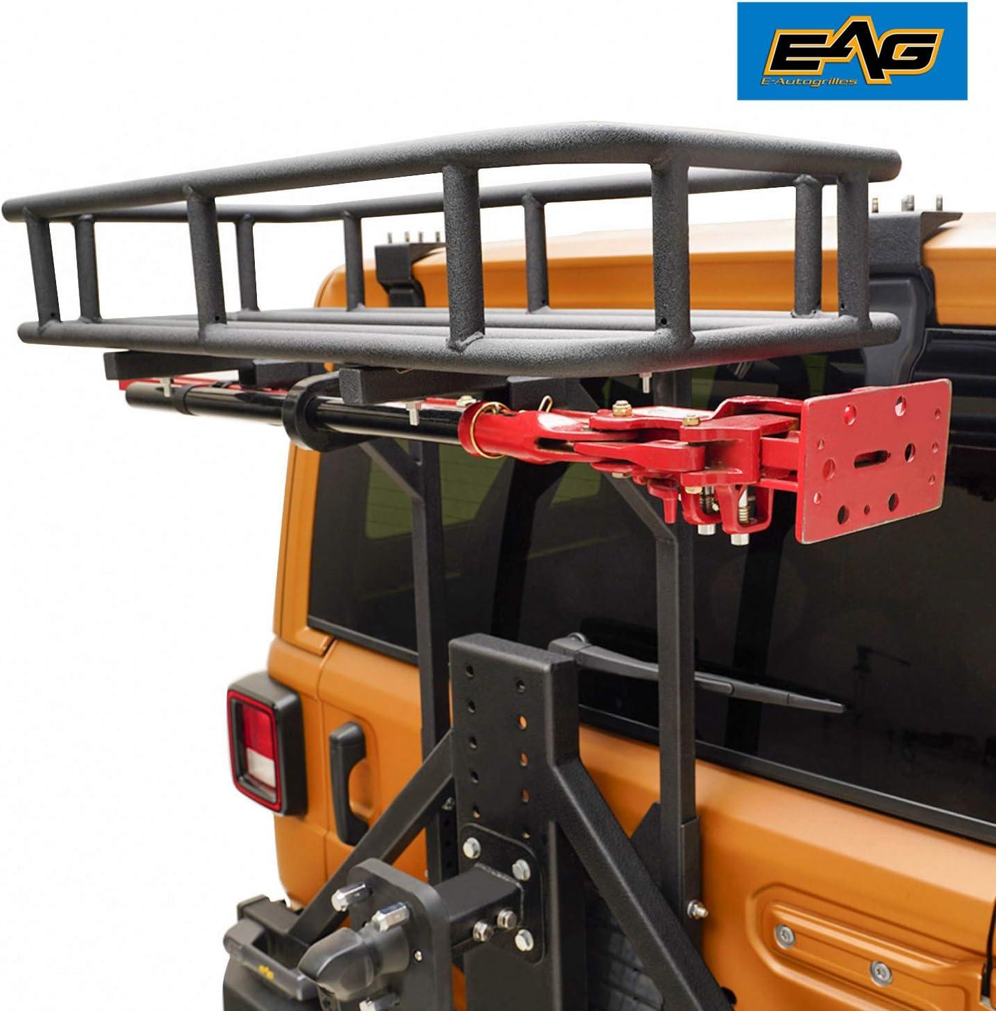 EAG Cargo Carrier Basket OE Tailgate w//Hi-Lift Jack Mount for 07-18 Jeep JK