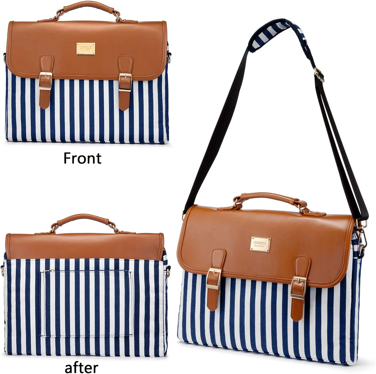 Computer Bag Laptop Bag for Women Cute Laptop Sleeve Case for Work College 15.6-Inch Black Stripe Brown