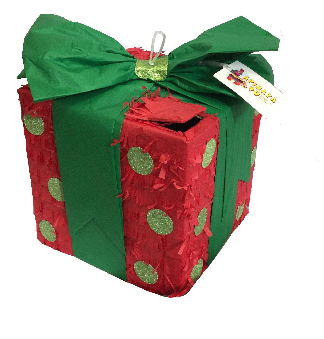 Christmas Gift Box Pinata Green Bow and Polka Dots