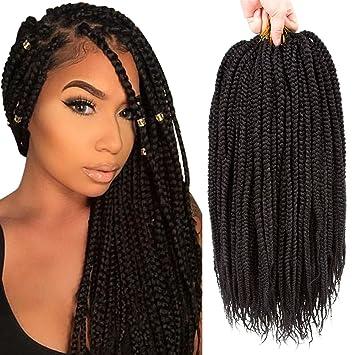 VQueen 6 Packs 18\u0027\u0027 Box Braid Crochet Hair Box Braids Hair Extensions  Crochet Braids Kanekalon Braiding