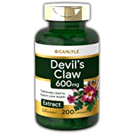 Carlyle Devils Claw 600 mg (200 Capsules) – Concentrated Root Extract, Non-