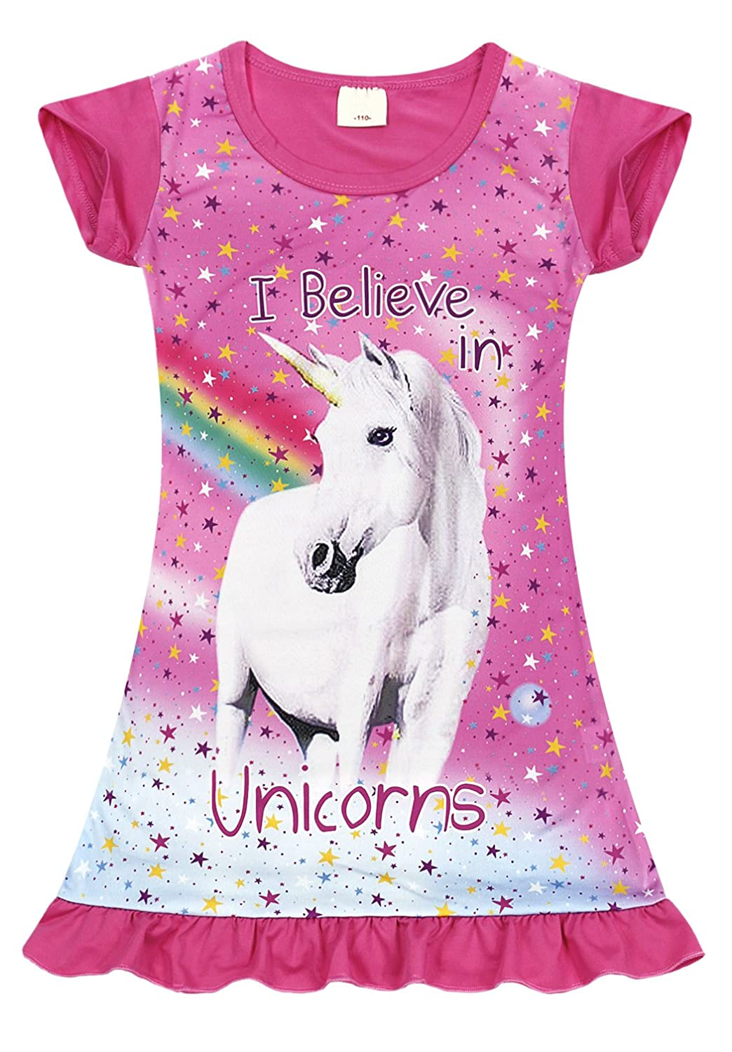 Jurebecia Girls Unicorn Nightgown Sleepwear Night Dress Casual Dress 2-10 Years