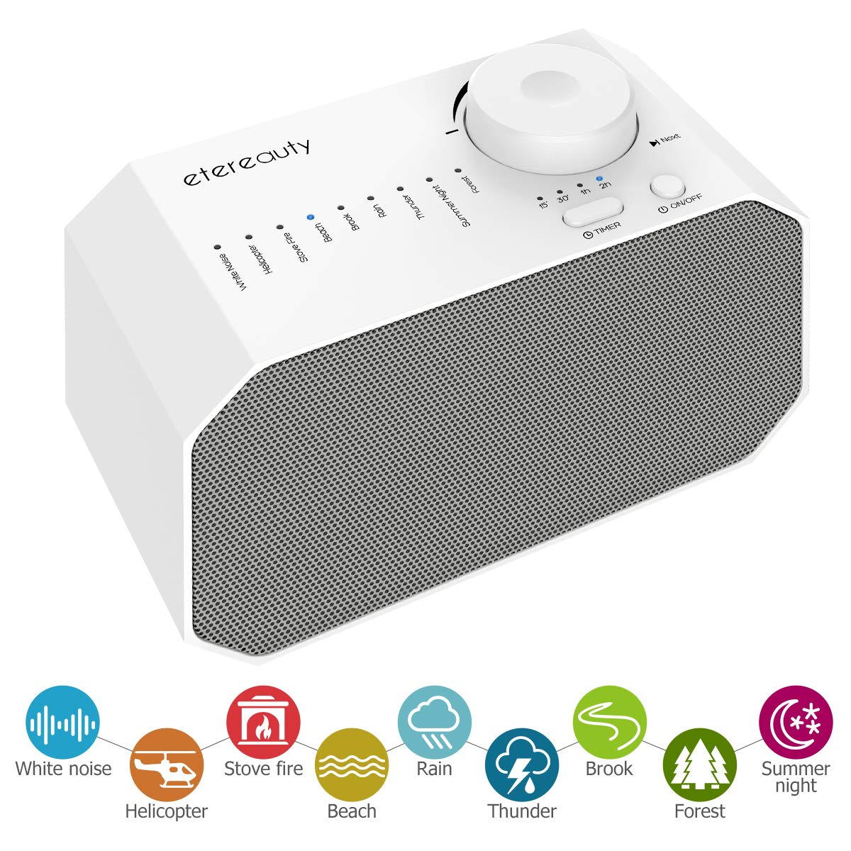 White Noise Machine for Sleeping & Relaxation, ETEREAUTY Sound Machine for Baby/Kids/Adults with 9 Soothing All-Natural Sounds, Auto-Off Timer and USB Output Charger for Home, Office or Travel, White by ETEREAUTY