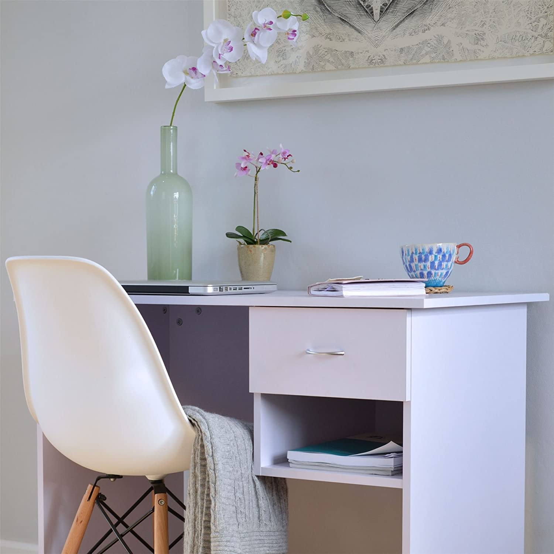 Ideale per Studenti con ripiano Extra e cassetti Bianco//Lilla Harbour Housewares Scrivania da Ufficio per Computer in Legno
