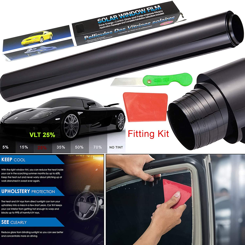 Film teinté pour fenêtre de voiture - 3m x 50 cm - Réduction de la lumière, de la chaleur et des rayons UV - Film vinyle teinté pour plus d'intimité - Convient pour voiture, maison, bureau Safekom