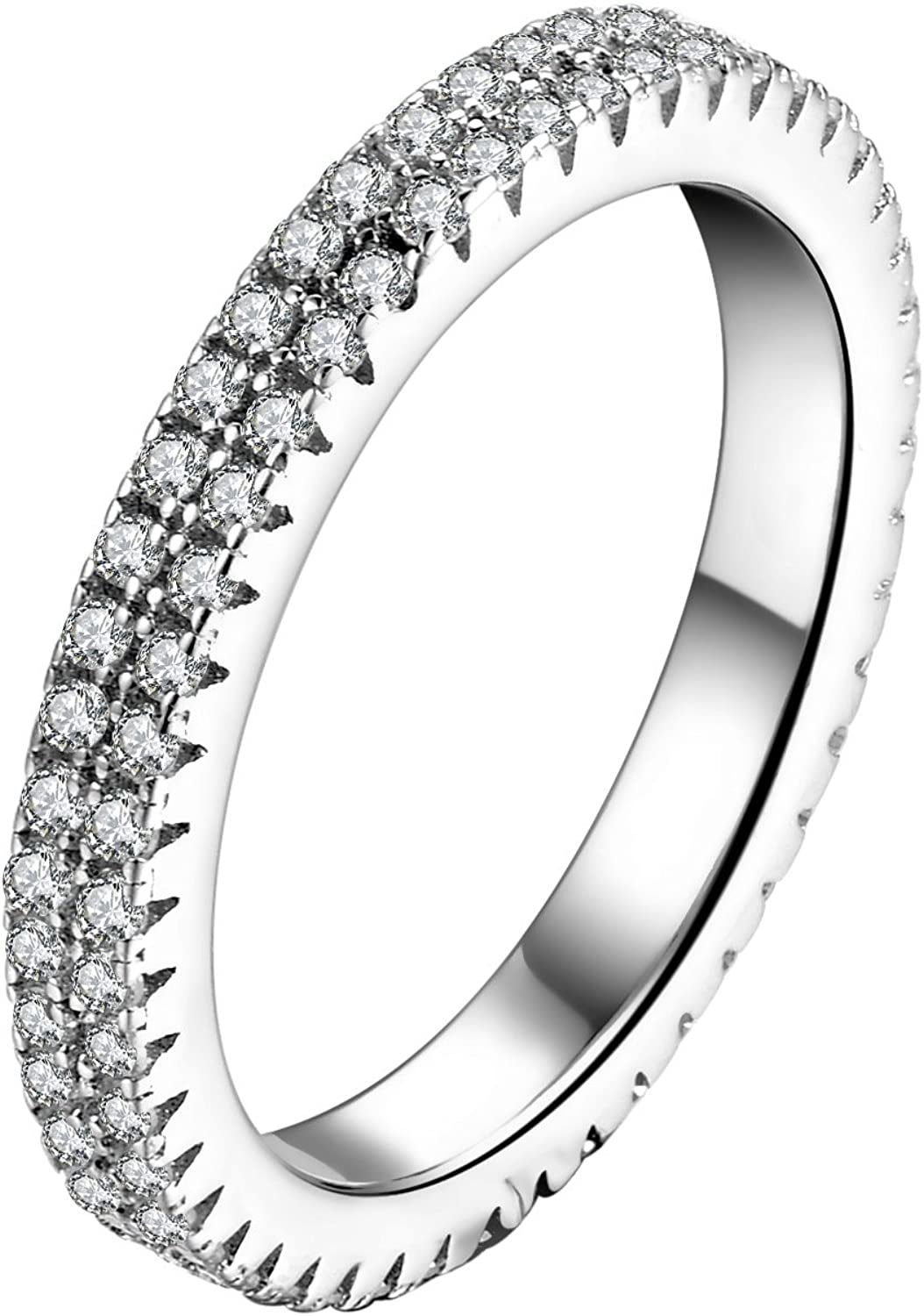 SILBERTALE 925 Sterling Silver Paved Cubic Zirconia Stackable Ring CZ Eternity Wedding Band Women Size 5-8
