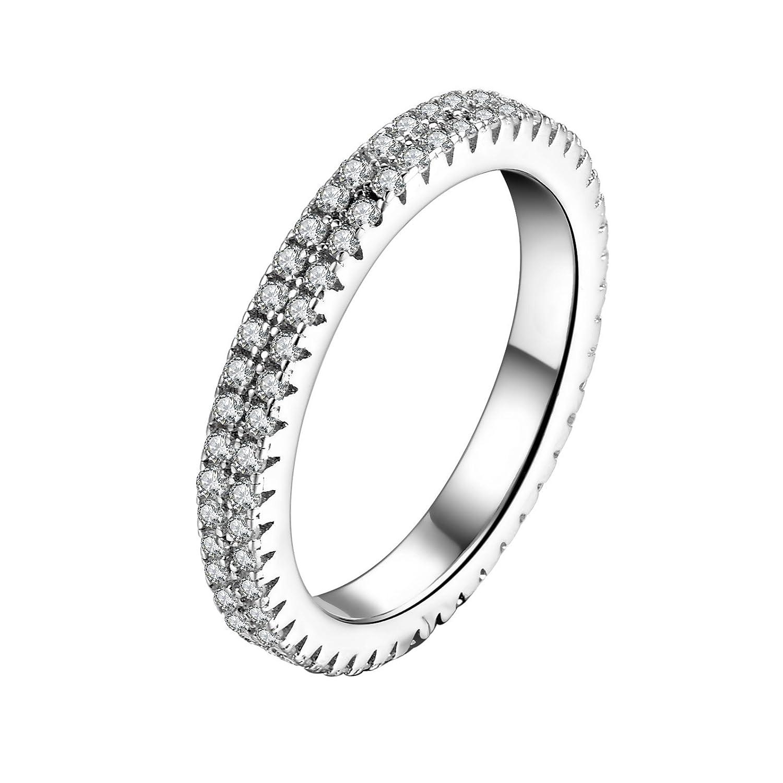 Echt 925 Sterling Silber Ring mit Zirkonia Hochzeit Gr 48 54 56 57