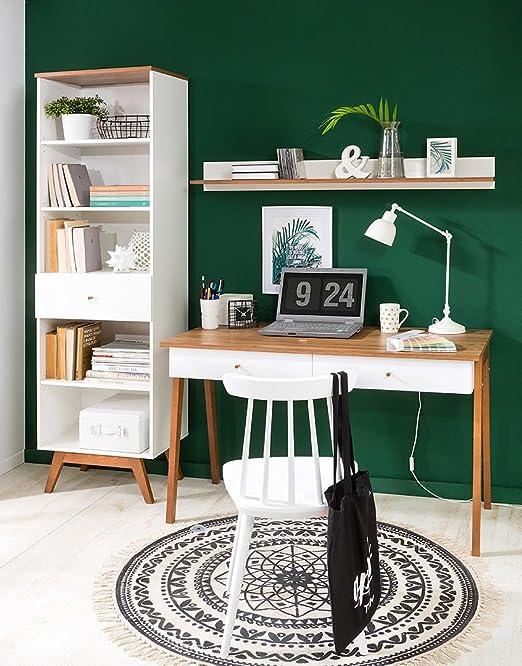 BlackRedWhite HEDA Oficina hogar Escritorio 120.50 cm Blanco ...