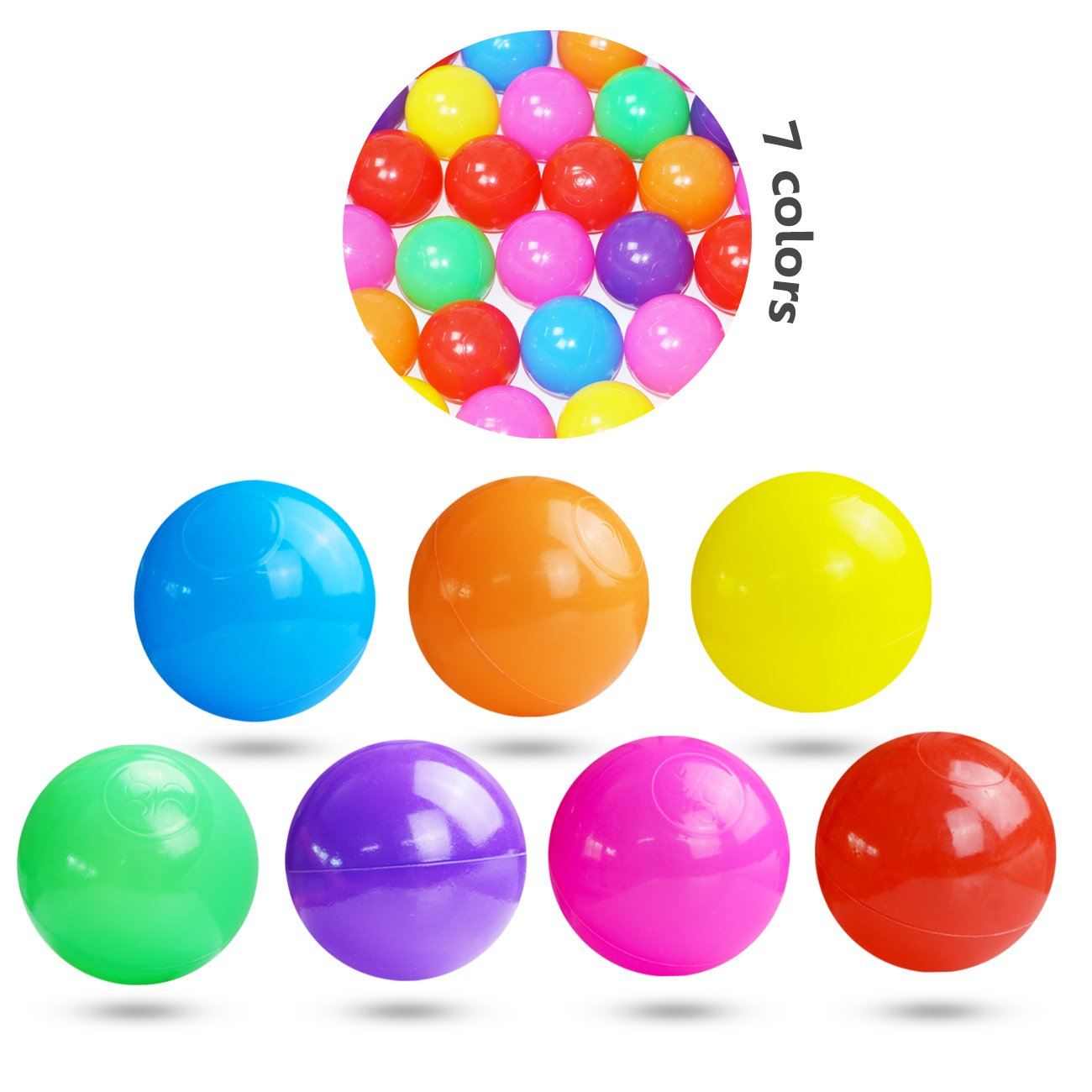 Pit Balls, Dadoudou Colorful Fun Phthalate Free BPA Free Crush Proof Balls Soft Plastic Air-Filled Ocean Ball Playballs for Baby Kids Tent Swim Toys Ball Pack of 50 by Dadoudou (Image #3)