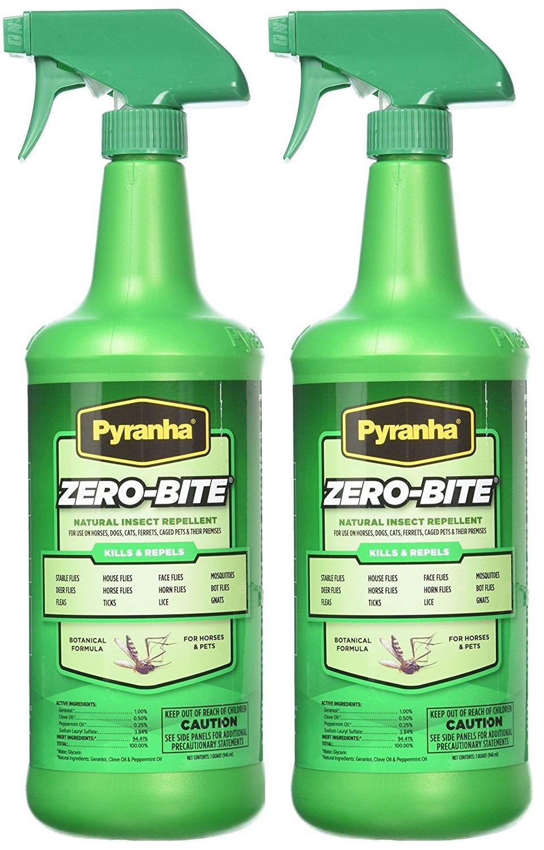 Pyranha Zero-Bite All Natural Fly Spray, 32 Ounces Per Container (2 Pack)