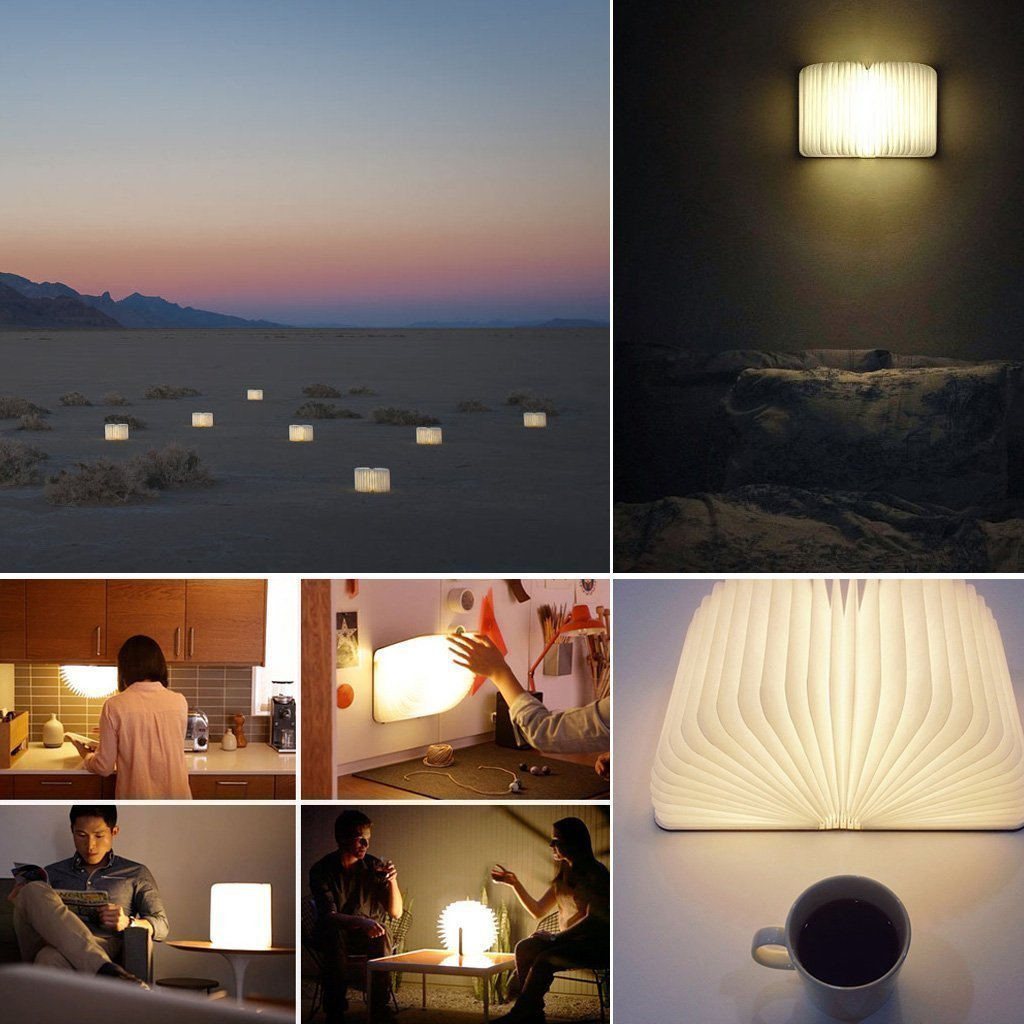 BestOpps Wooden Foldable LED Nightlight Book Style Rechargeable Folding Desk Lamp Table Lamp USB Book Lamp Decorative /Mood/Night Lights (Yellow)