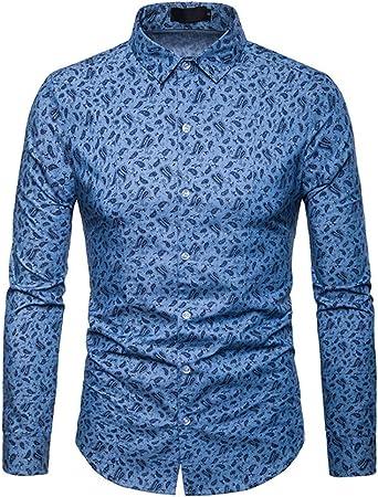 YuFLangel Los Hombres Camisa Ocasional Camisa de Manga Larga con Cuello Redondo de Solapa para Hombre, Camisa de Caballero con Botones, Camisa S-XXL Camisa de Vestir con Botones: Amazon.es: Hogar
