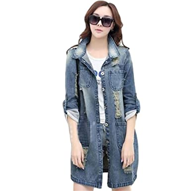 Philliga New New Spring Women Denim Jacket Fashion Hole Jackets Casual Ripped Jeans Long Sleeve Coat