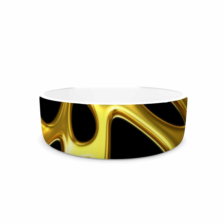 KESS InHouse Danny Ivan gold Vgoldnoi Black gold Illustration Pet Bowl, 7  Diameter