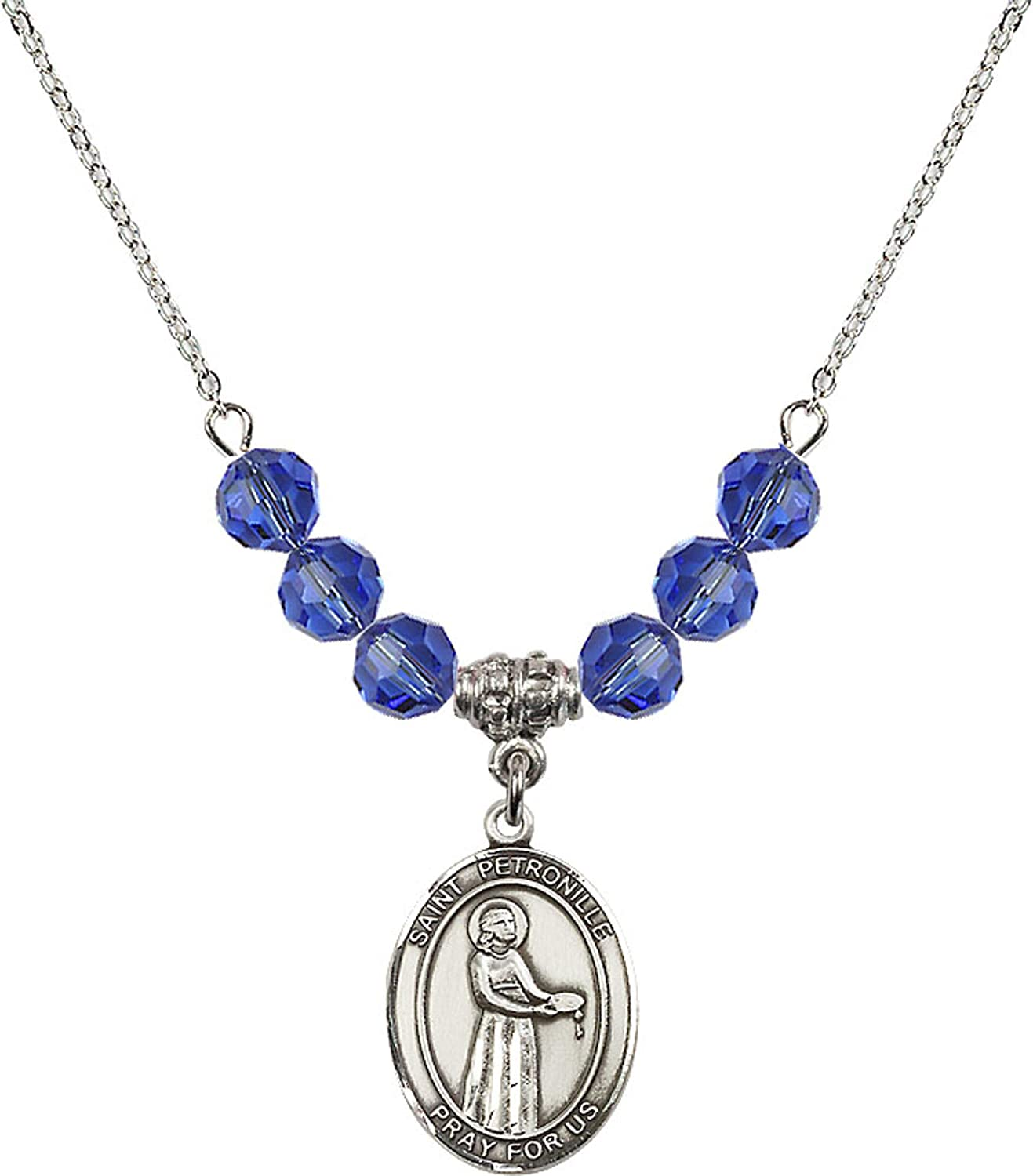 Bonyak Jewelry 18 Inch Rhodium Plated Necklace w// 6mm Blue September Birth Month Stone Beads and Saint Petronille Charm