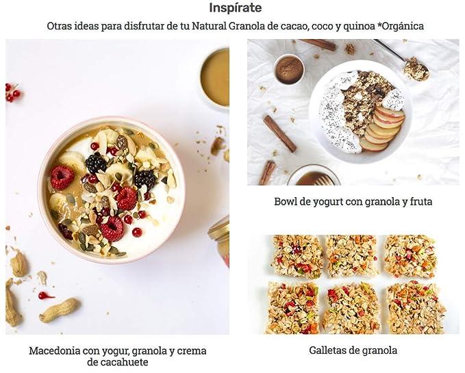 Granola Cacao, Coco y Quinoa - Natural Athlete - Desayuno con frutos secos y semillas - 100% Natural - BIO - Sin Gluten - Sin Lactosa - Vegano - Sin ...