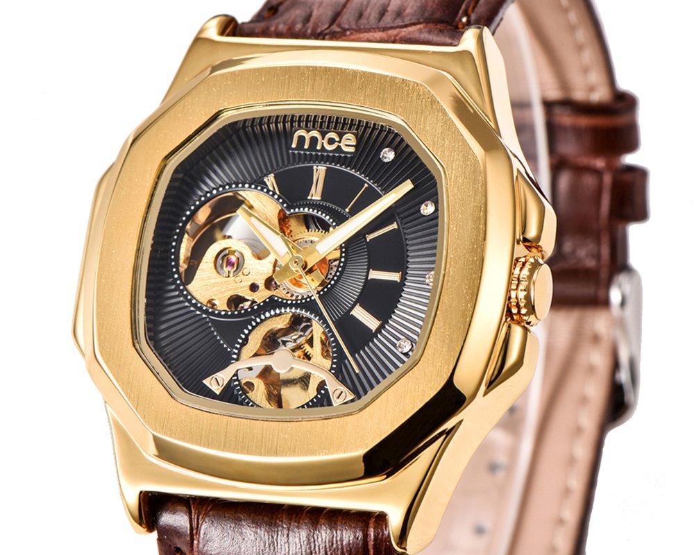 ManChDa Skeleton Mens Automatic Mechanical Wrist Watch Black Genuine Leather Dial Golden Movement Men