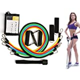11pc Resistance Band Set - with Door Anchor, Handles, Ankle Straps - Stackable Up to 80lbs - for Resistance Training, Physical Therapy, Home Workouts