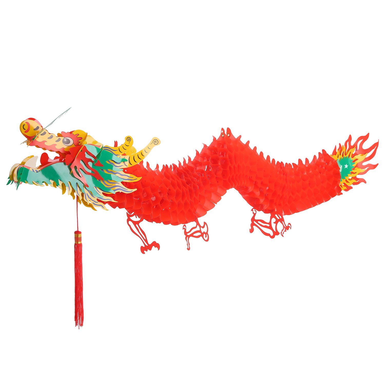 Bememo 3D Chinese New Year Dragon Garland Hanging Decoration, 4.92 Feet