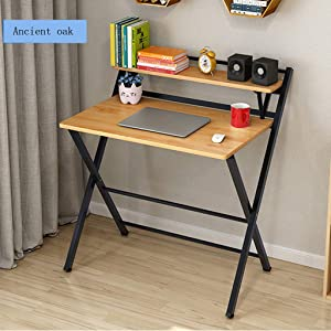 US Fast Shipment Folding Study Computer Desk - Home and Office Desks with Keyboard Tray - Writing and Laptop Console Table for Bedrooms - Modern Minimalist Design Furniture (Khaki)