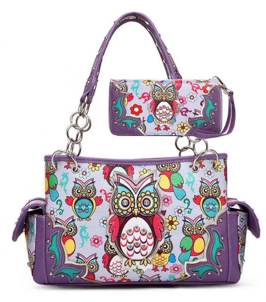 Owl Purse and Wallet Set, Colorful Satchel Western Handbag Style (Purple)
