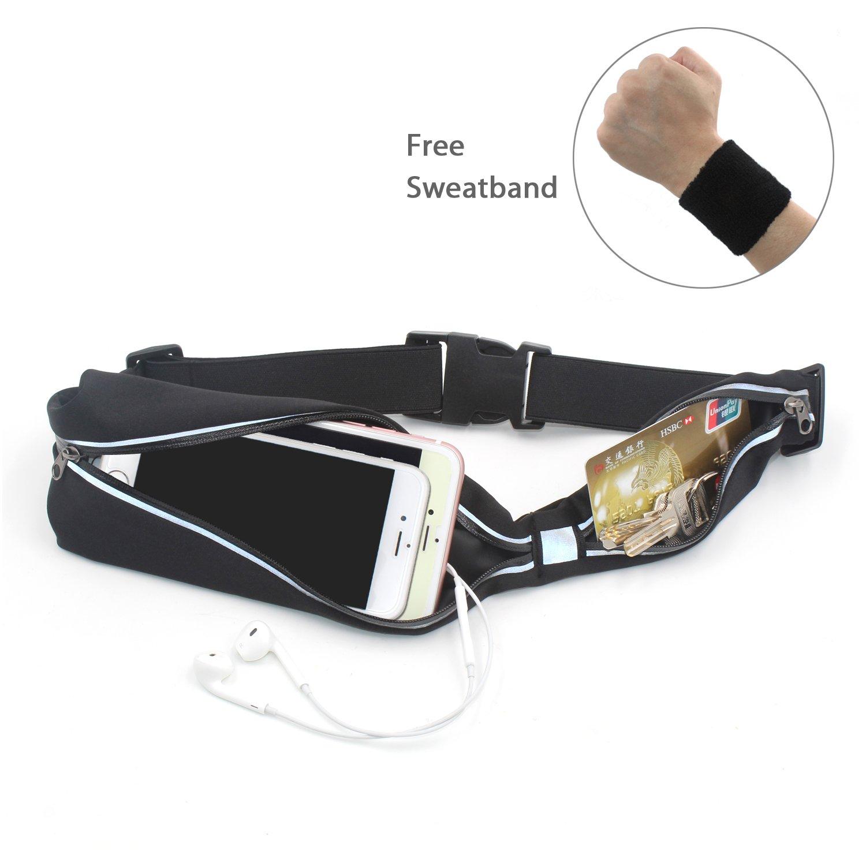 Ceinture de course Kmmin Running belt Ceinture étanche légère haute qualité 2 petites poches compatible avec iphone7 plus Samsung galaxy S7 autre smartphone pratique pour cartes bancaires/ clés / cash