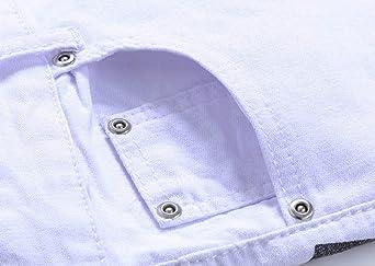 1c9e9f4f345d CHFYI Männer Weiße Persönlichkeit Jeans Mittlere Taille Gerade Jeans Ohne  Gürtel  Amazon.de  Bekleidung